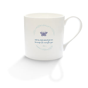 """Cast all your anxiety on him"" fine bone china mug"