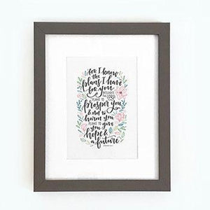 'For I know the plans I have for you' (leaves) - Framed Print