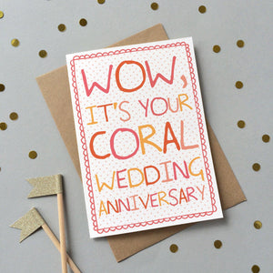 Coral Wedding anniversary card