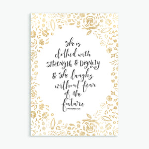 'She is clothed with strength & dignity' (gold) - Greeting Card