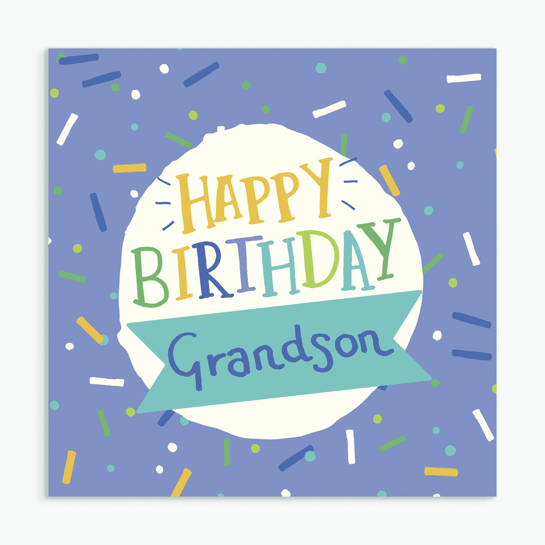 'Happy Birthday Grandson' Greeting Card & Envelope
