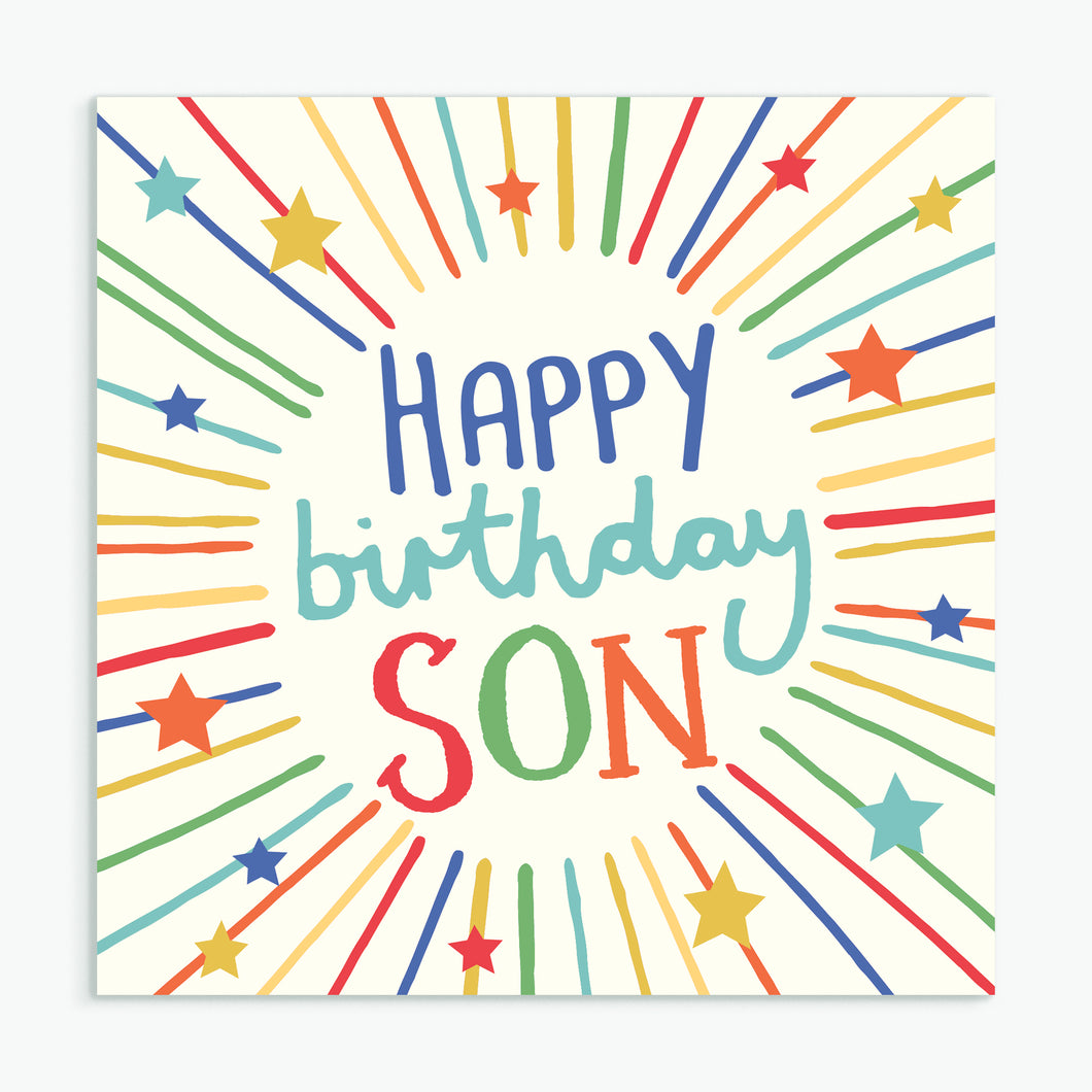 'Happy Birthday Son' Greeting Card & Envelope