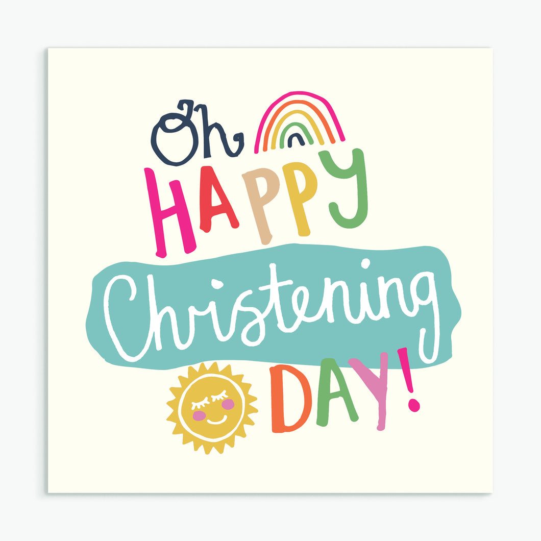 'Oh Happy Christening Day' Greeting Card & Envelope