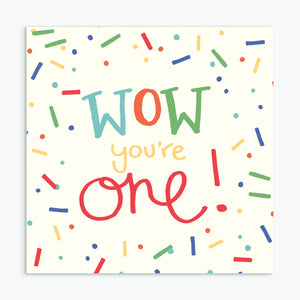 'Wow You're One' Greeting Card & Envelope - Red