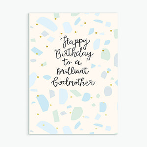 'Brilliant Godmother' Birthday Card & Envelope