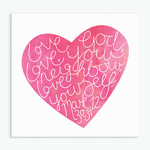 Love God (Red) Greeting Card