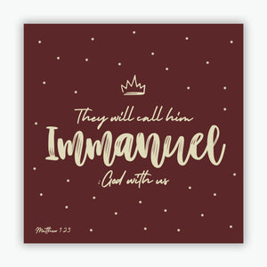 """Call Him Immanuel"" Christmas cards - Dark Red  - 10 Pack"