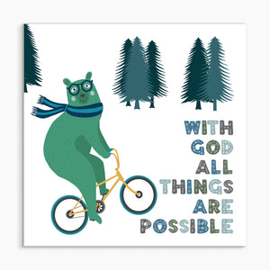"""With God all things are possible - Bear"" White framed print"