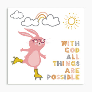 """With God all things are possible - Rabbit"" White framed print"