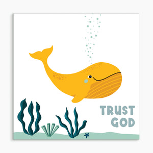 """Trust God - whale"" White framed print"