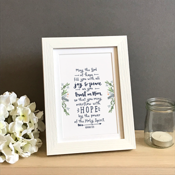 'May The God Of Hope' by Emily Burger - Framed Print
