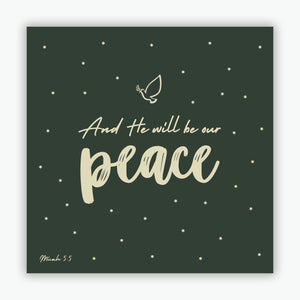 """And He Will Be Our Peace"" Christmas cards - Dark Green  - 10 Pack"