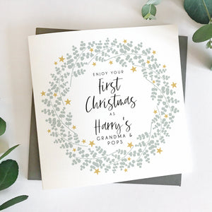 First Christmas As Grandparents Eucalyptus Wreath Card