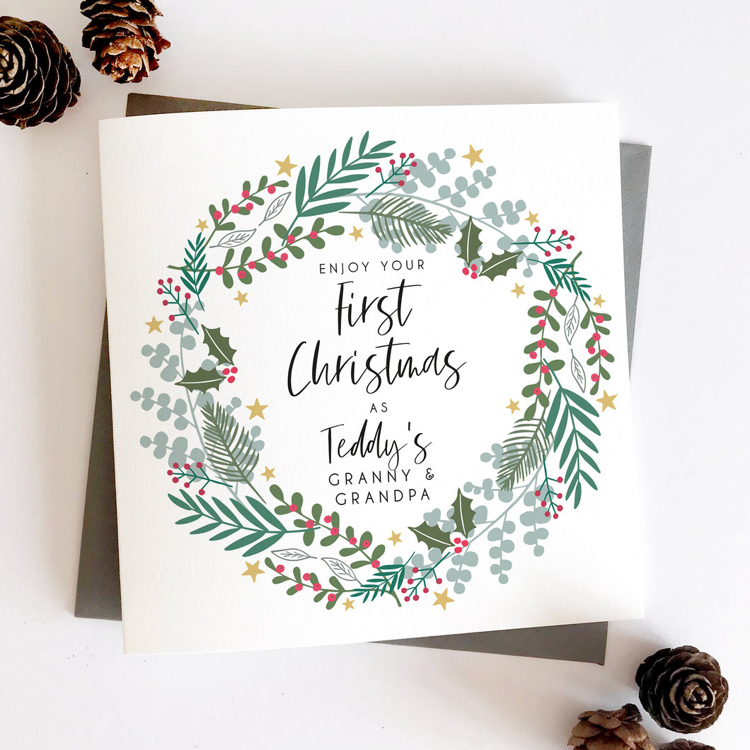 First Christmas As Grandparents Wreath Card