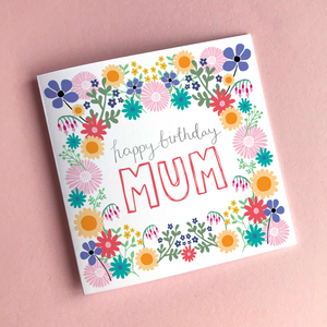 Mum's 'Happy Birthday' Greeting Card & Envelope