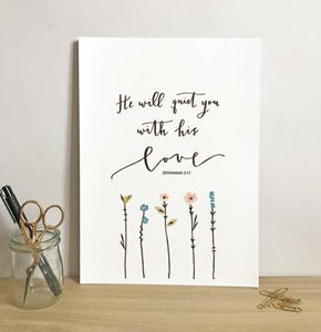 'He Will Quiet You' by Emily Burger - Print