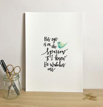 'His Eye is On The Sparrow' by Emily Burger - Print