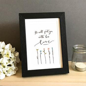 'He Will Quiet You' by Emily Burger - Framed Print