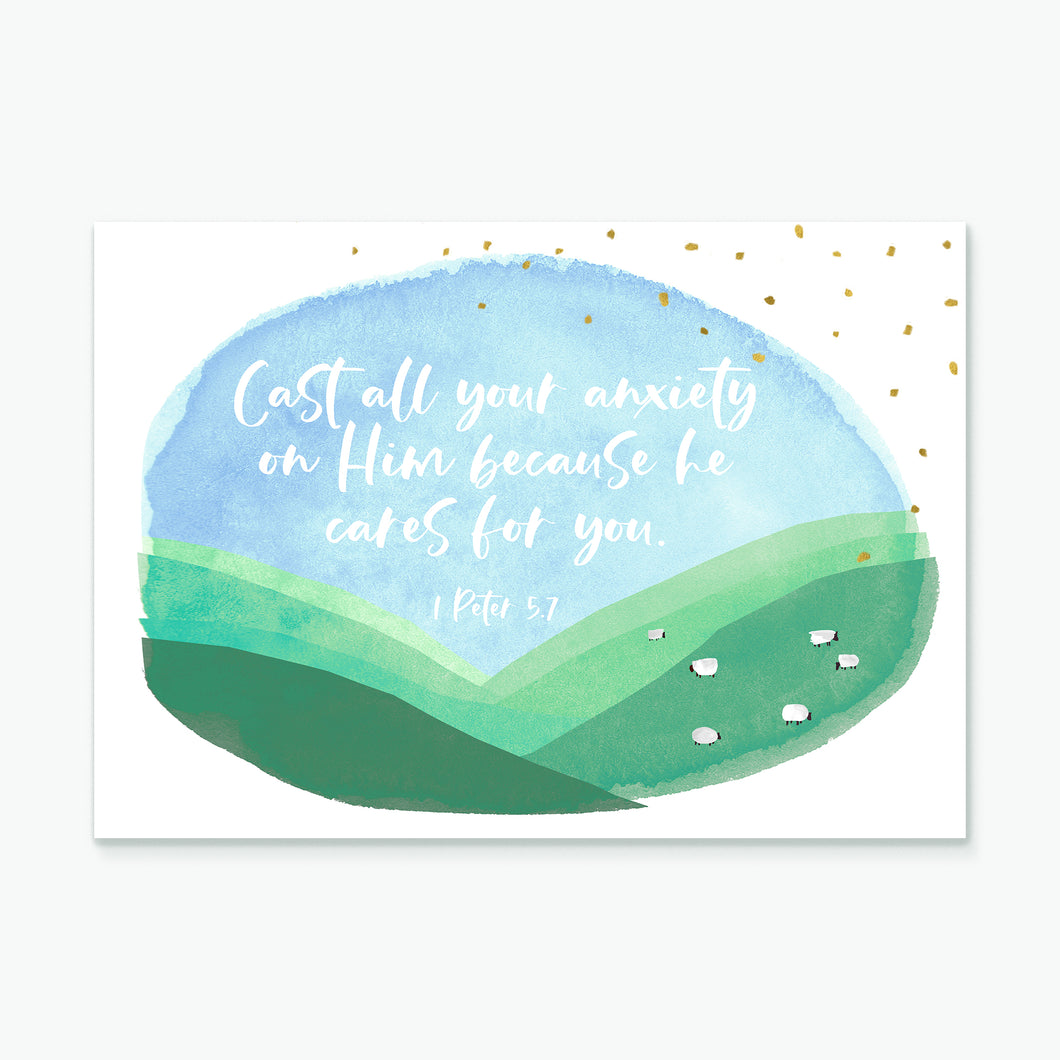 Cast all your anxiety (Hillside) greeting card
