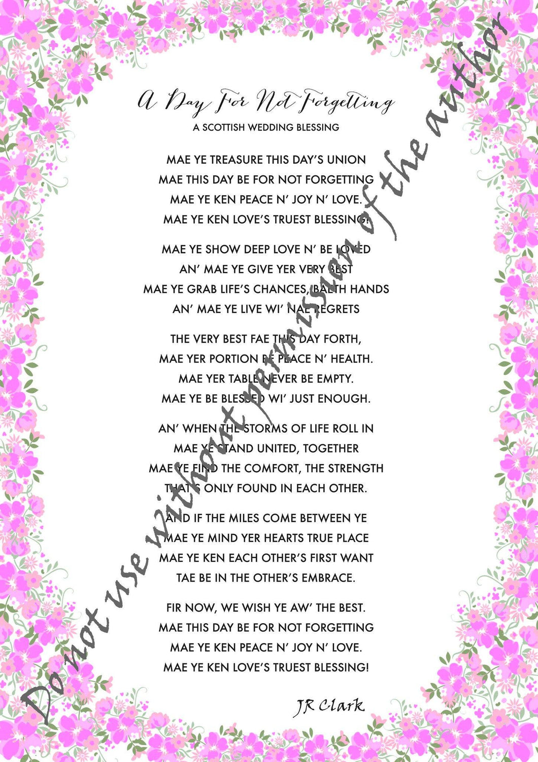 A Scottish Wedding Blessing Print