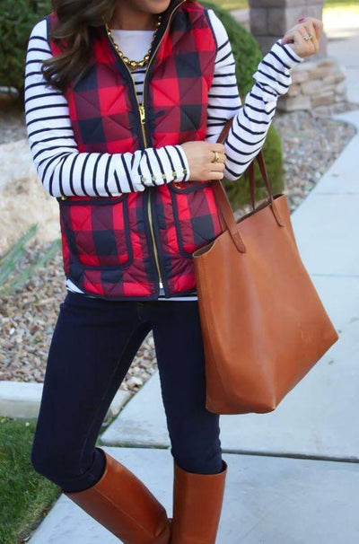 Guide to Wearing Buffalo Plaid + Stripes.
