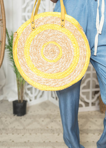 Yellow Straw Handbag perfect for those Beach Days.