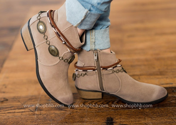 Embellished Bootie | Taupe, SHOES, ACCESSORIES, BAD HABIT BOUTIQUE