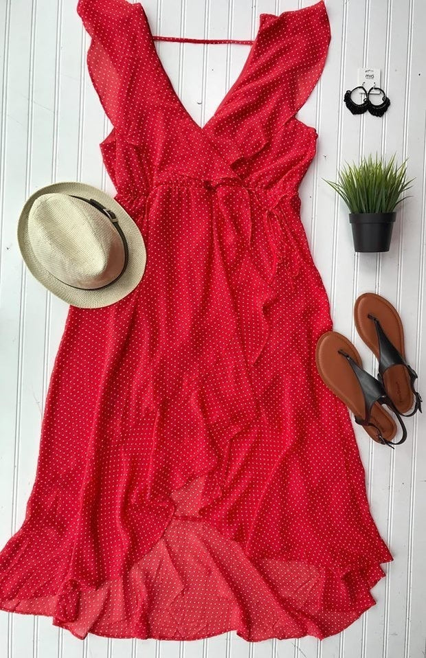 Curvy Girl Polka Dot Dress-Red, SALE, Soprano, badhabitboutique