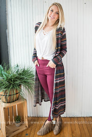 The Striped Maxi Cardigan adds feminine appeal to an outfit.