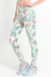 Tropical High Waisted Workout Leggings-MONO B | FINAL SALE, CLOTHING, Mono B, BAD HABIT BOUTIQUE