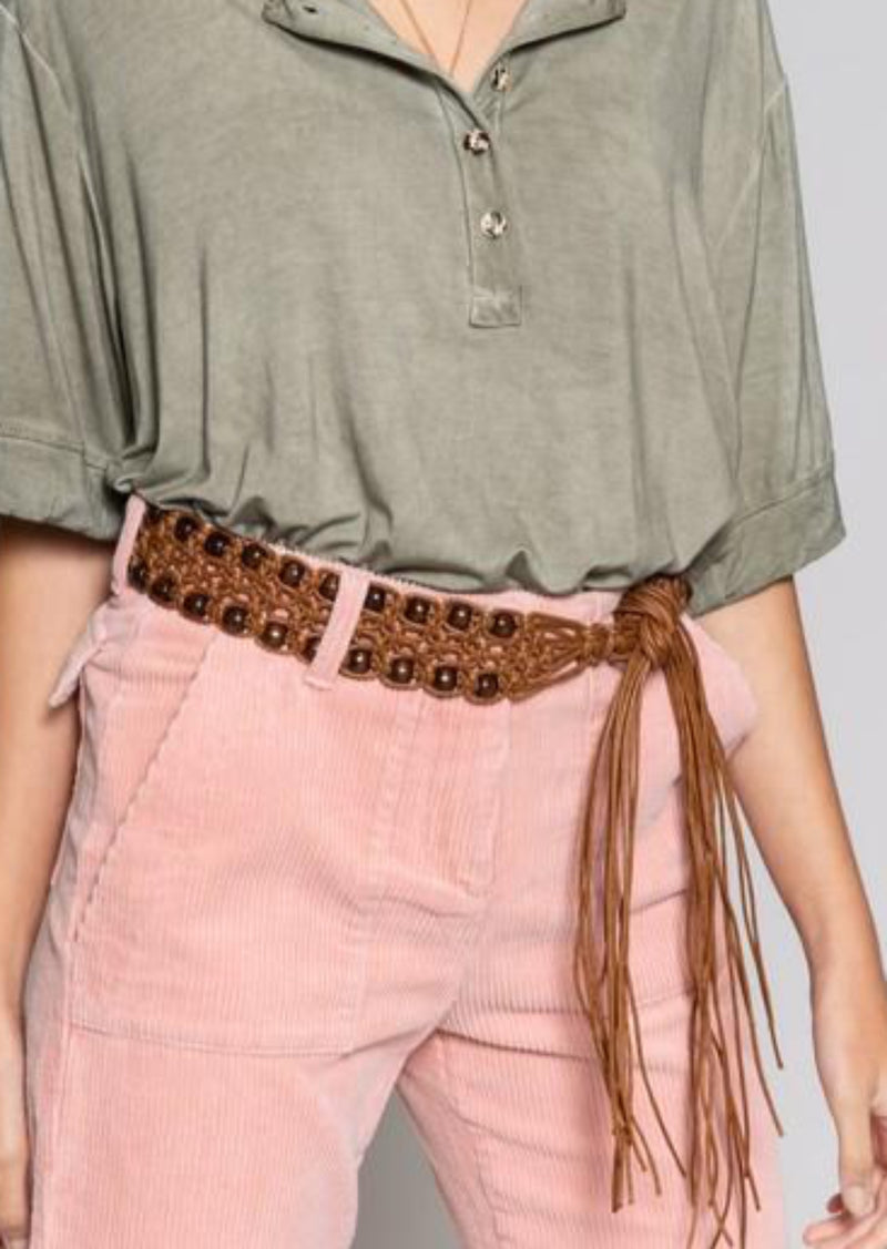 Leatherette Coffee Fringe Belt, ACCESSORIES, POL, BAD HABIT BOUTIQUE