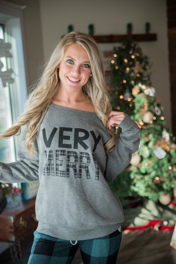Very Merry Grey Slouchy - BAD HABIT BOUTIQUE