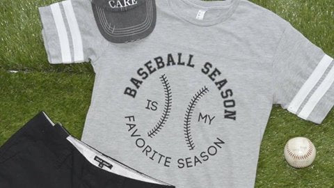 Baseball Season is my Favorite Season-white stripes on sleeve, BASEBALL, GRAPHICS, BAD HABIT BOUTIQUE