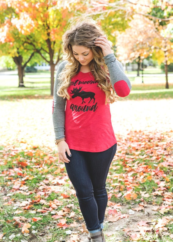 Just Moosing Around Baseball Elbow Patch Tee - BAD HABIT BOUTIQUE