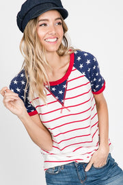 stars and striped raglan scoop neck top