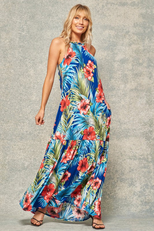 halter tropical floral dropped waist royal maxi dress