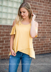 Cold Shoulder High Low Top | Mustard, SALE, White Birch, badhabitboutique
