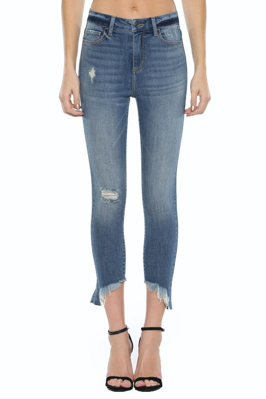 High Rise Cropped Frayed Slanted Hem-CELLO | FINAL SALE, CLOTHING, CELLO JEANS, BAD HABIT BOUTIQUE