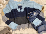 Hues of Blue Color block distressed sweater