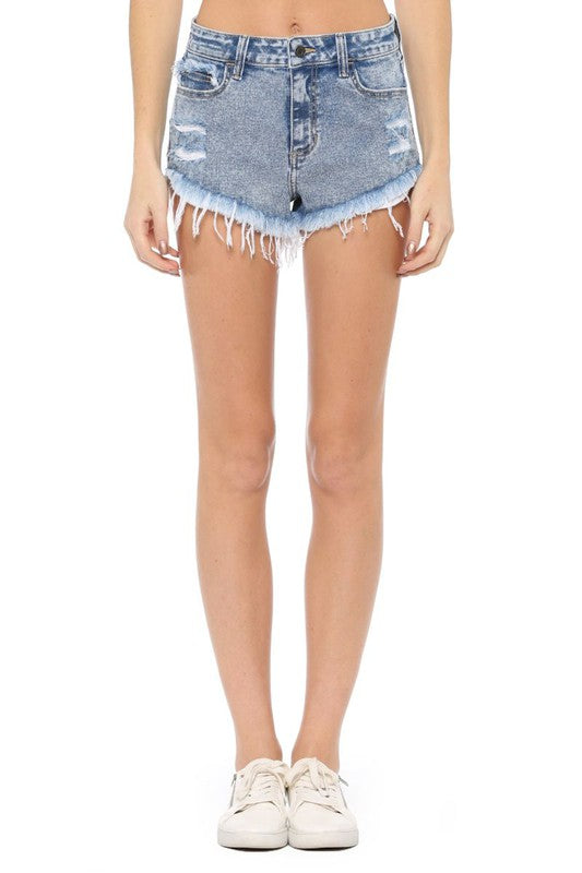 High Rise Frayed Raw Hem Denim Shorts-CELLO, CLOTHING, CELLO JEANS, BAD HABIT BOUTIQUE