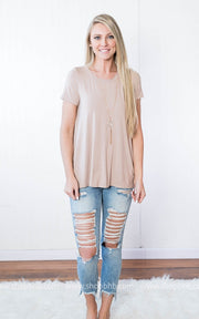 Short Sleeve Top-with Back Out | Taupe