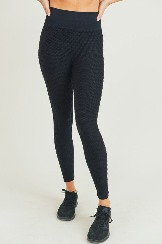 black jacquard and ribbed seamless high waisted leggings
