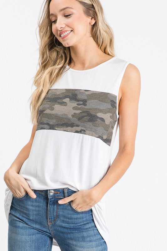 camouflage ivory contrast sleeveless crewneck tank top