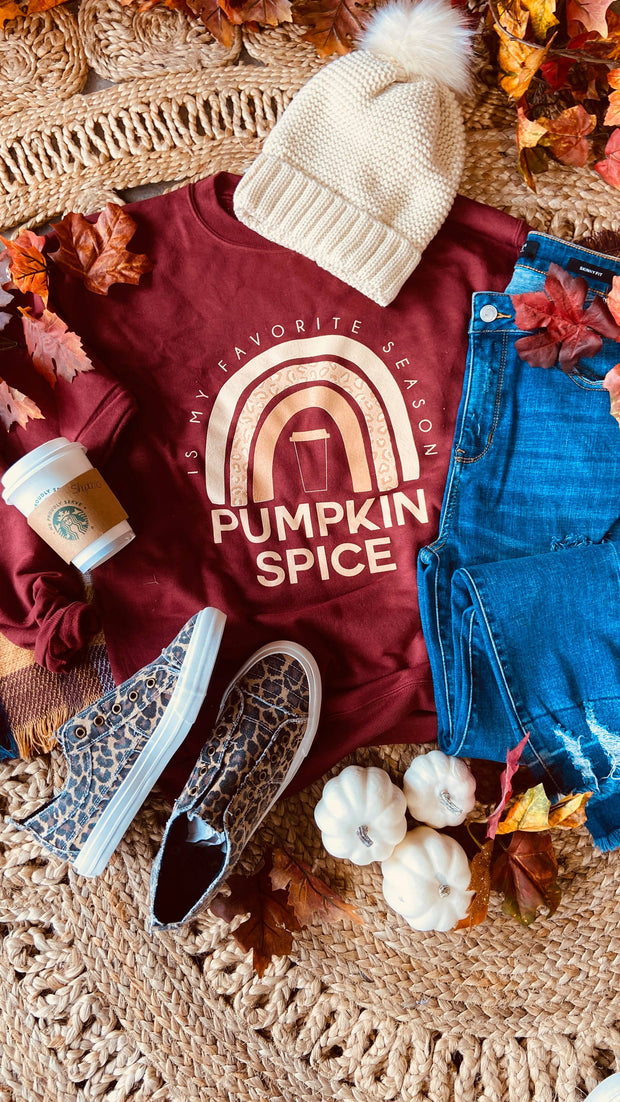 Taste the Pumpkin Spice Rainbow Sweatshirt - Garnet
