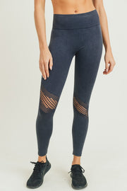 black  slanted wraparound perforated mineral wash seamless high waisted leggings