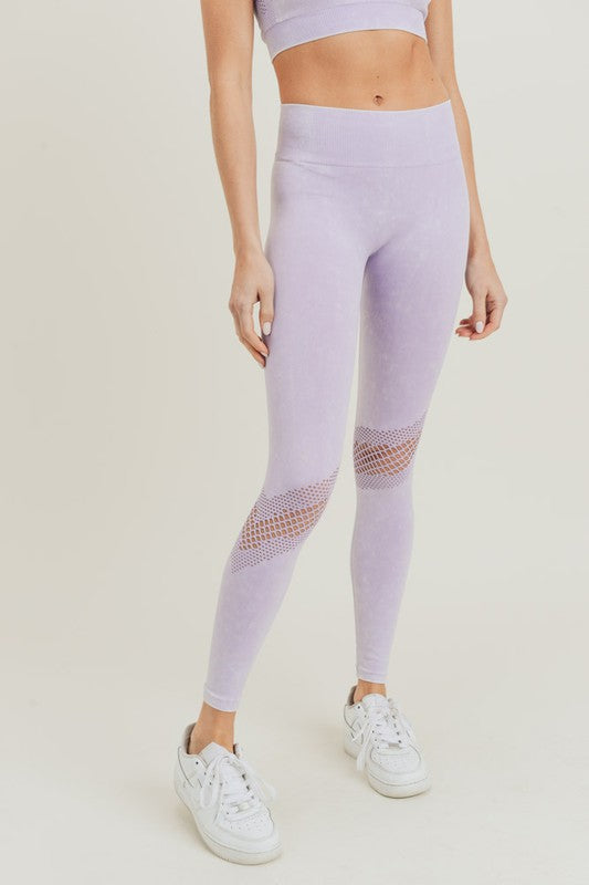 lavender slanted wraparound perforated mineral wash seamless high waisted leggings
