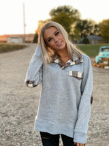 A Touch of Plaid Pullover Sweatshirt, CLOTHING, ENTRO, BAD HABIT BOUTIQUE