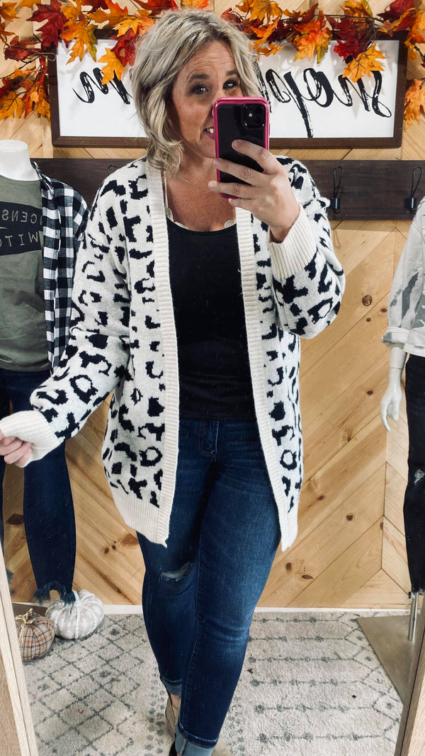 Leopard Jacquard Knit Cardigan, CLOTHING, White Birch, BAD HABIT BOUTIQUE