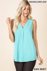 woven airflow vneck sleeveless tank blouse ash mint