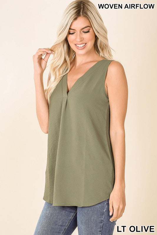 woven airflow vneck sleeveless tank blouse light olive
